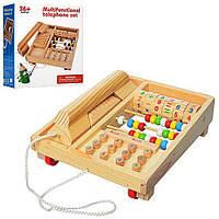Дерев'яна іграшка Телефон MD1202, каталка, рахунки, цифри, в коробці 22*19*10см