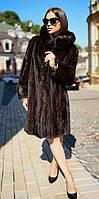 Шуба норковая с капюшоном большого размера Батал   Модель 200613, фото 1