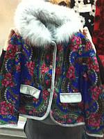 Приталенная, утепленная  куртка с отделкой и капюшоном в стиле Матрешка