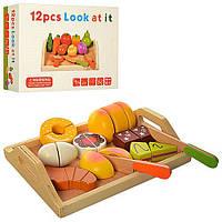 Дерев'яна іграшка Продукти MD1195, 2 види, на липучці, розрізні, дощечка, ніж, в коробці 25*19*6 см
