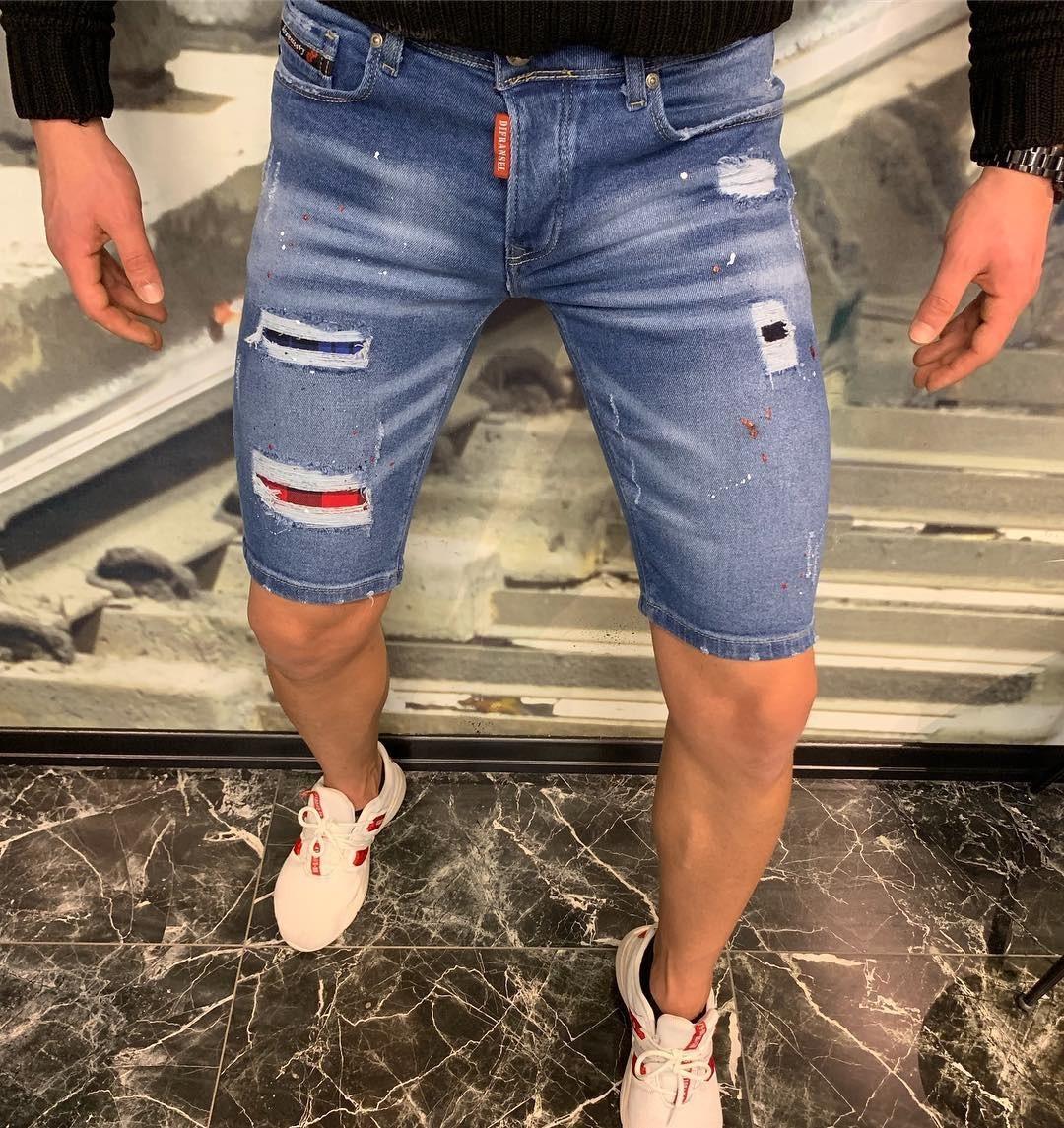 Шорты мужские - модные (рваные) джинсовые