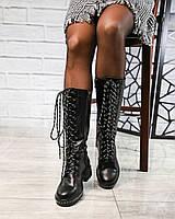 Сапоги женские  на шнуровке черные деми