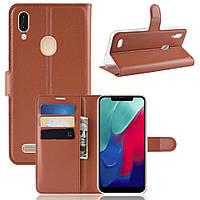 Чехол Luxury для Leagoo M11 книжка коричневый