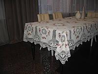Скатерть украшенная вязкой. Размер  150*230 см. Модель 20116B