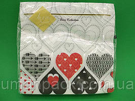 Салфетки бумажные красивые (ЗЗхЗЗ, 20шт) Luxy Политра сердец(1243) (1 пач)