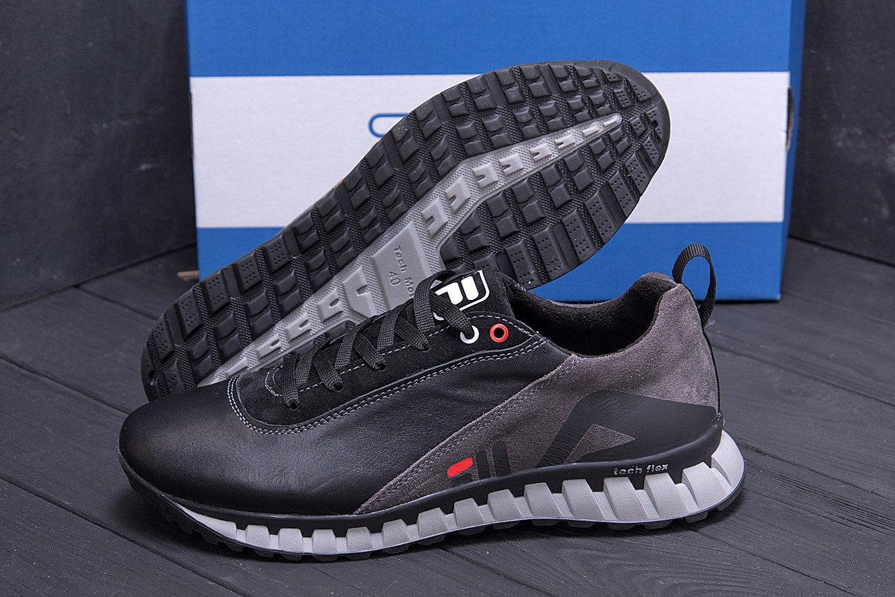 Мужские кожаные кроссовки в стиле FILA Tech Flex Black черные