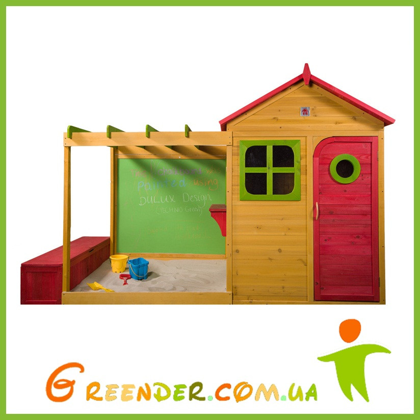 Цветной деревянный домик с песочницей Archie Cubby House с ящиком для хранения игрушек