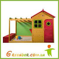 Цветной деревянный домик с песочницей Archie Cubby House с ящиком для хранения игрушек, фото 1