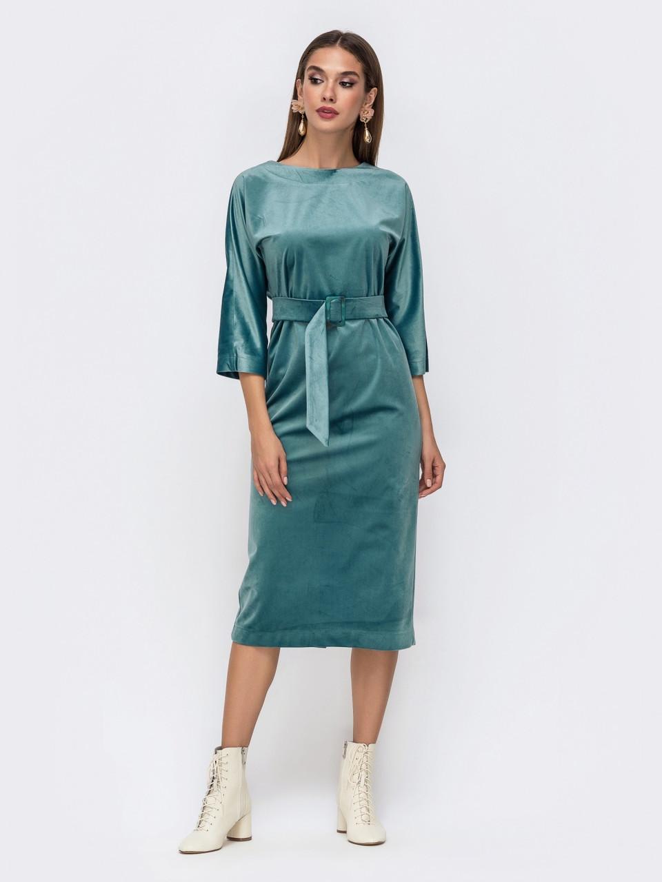 Лаконичное платье прямого кроя из мягкого бархата розмір 44 46 48
