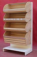 Торговые хлебные стеллажи «Колумб» 200х125 см., корзины из натурального дерева, Б/у, фото 1