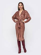 Элегантное платье из фактурного велюра с лифом на запах розмір 44 46 48, фото 3