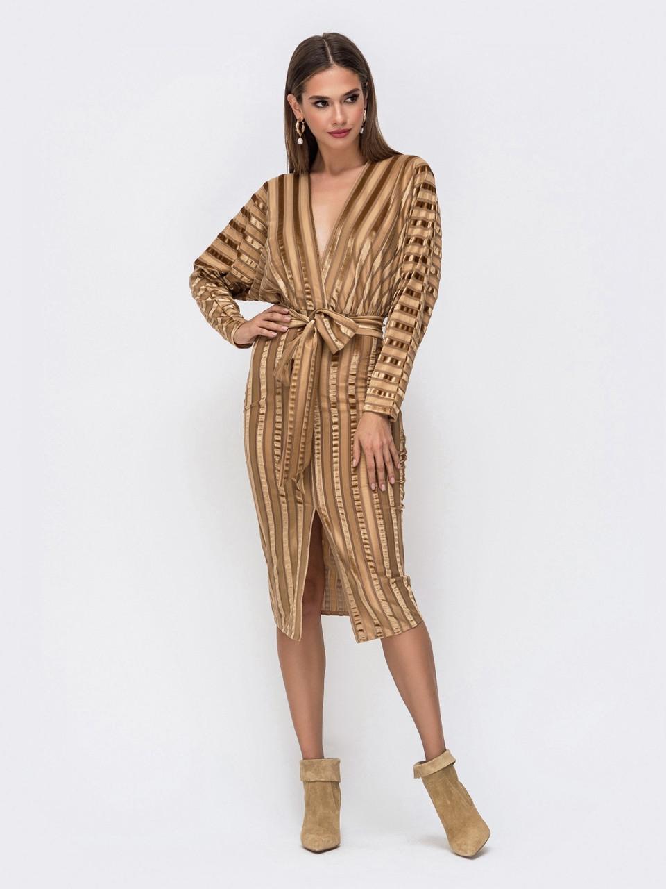 Элегантное платье из фактурного велюра с лифом на запах розмір 44 46 48
