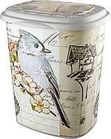 Корзина для белья пластиковая Элиф (Elif) Птица (Bird). 39х45х53.