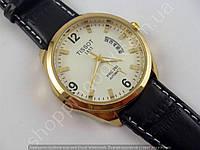 Мужские наручные часы Tissot 1853 золотистые с белым циферблатом, календарь