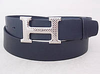 Кожаный синий ремень Hermes унисекс, фото 1