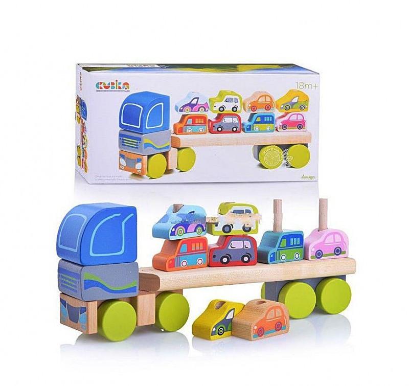 ხის მანქანების გადამყვანი, პატარა მანქანებით, 12 ნაწილიანი