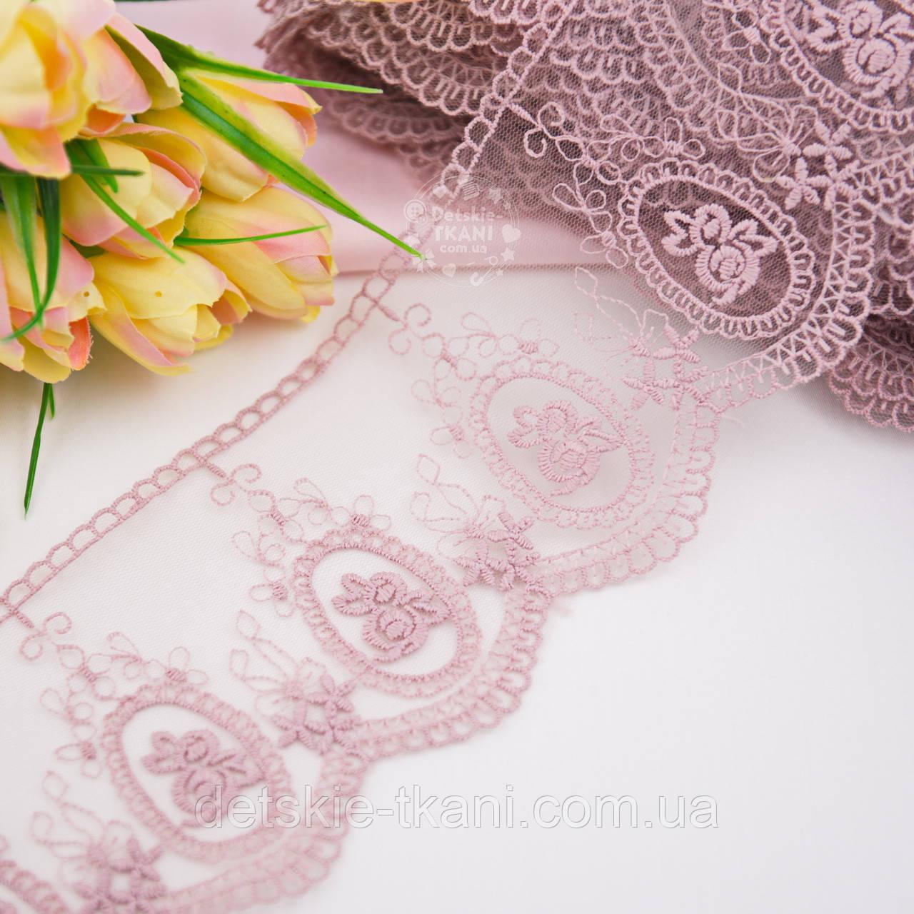 """Кружево """"Камея с розочками"""" цвет пыльной розы, ширина 10 см."""
