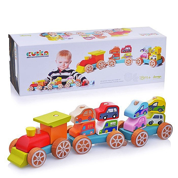 Дерев'яна іграшка Cubika Потяг з машинками 14 деталей (13999) (4823056513999)