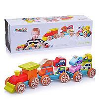 Дерев'яна іграшка Cubika Потяг з машинками 14 деталей (13999) (4823056513999), фото 1