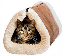 Коврик туннель Kitty Shock для кошек 2 In 1 Tunnel Bed Mat Коричневый с белым 36-130757, КОД: 964978