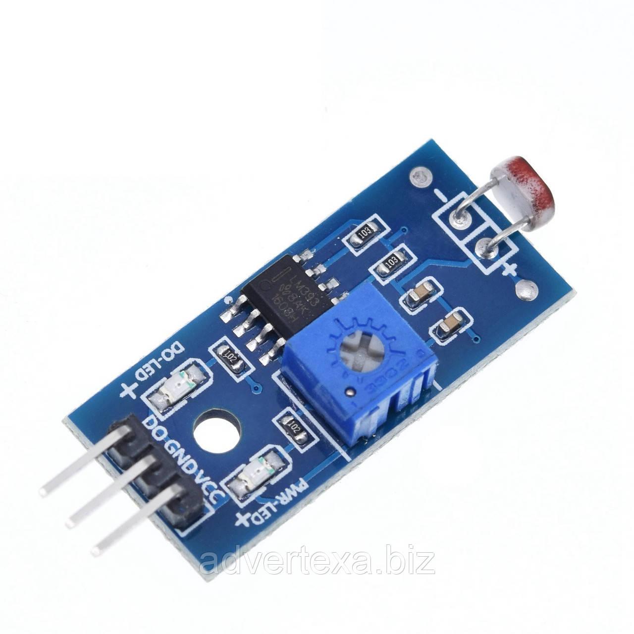Датчик света на фоторезисторе GL5528, 3 pin, модуль обнаружения света для Arduino и др. контроллеров
