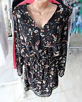 Платье легкое темное в мелкий цветочек