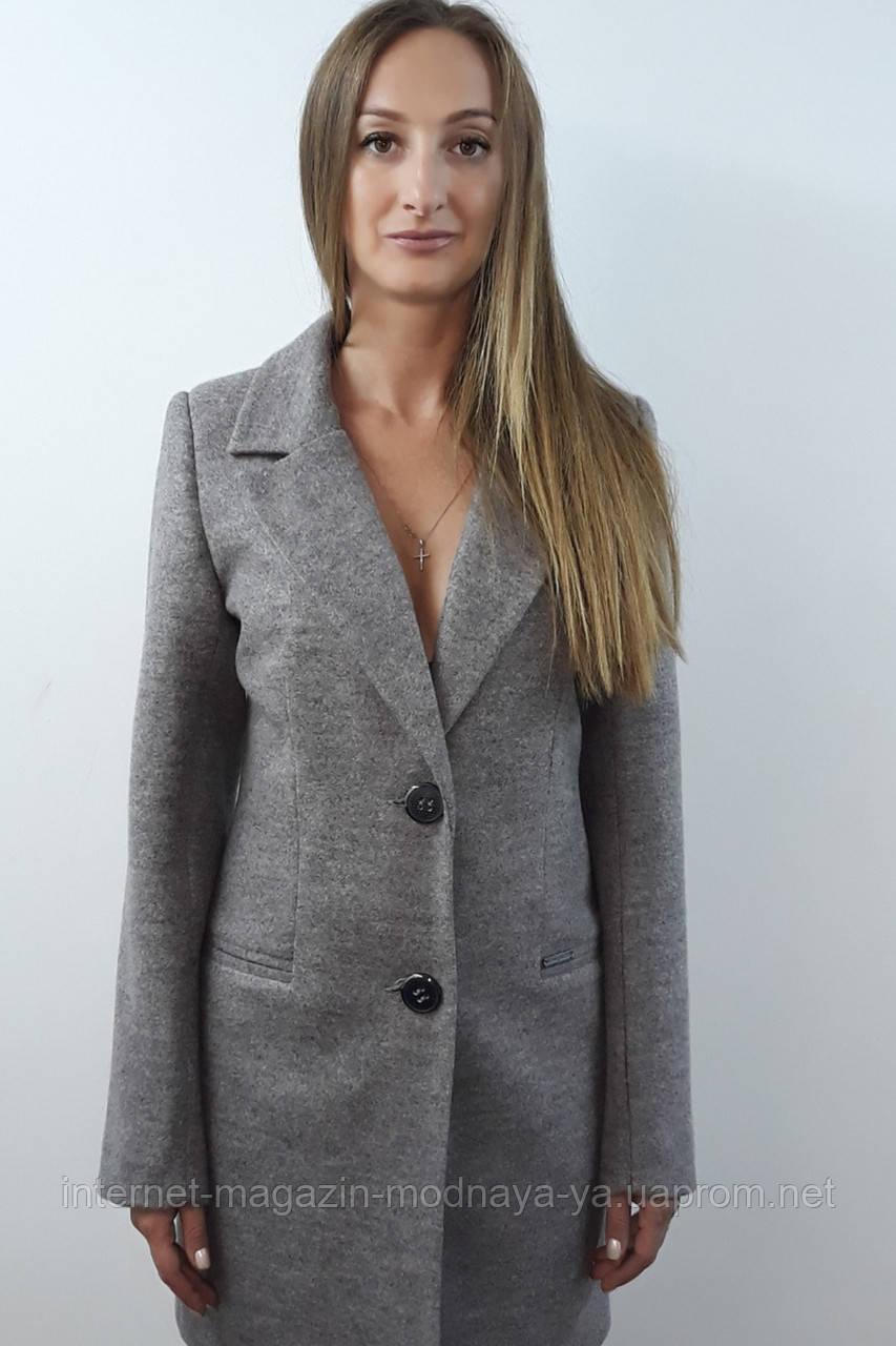 Женское пальто из твида № 56 р. 42-48 серый