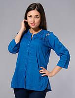 Блузка женская синяя с кружевом, хлопок, Индия, 44-50 р-ры