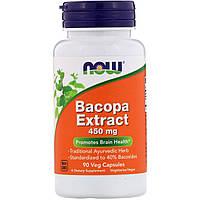 "Экстракт бакопы NOW Foods ""Bacopa Extract"" 450 мг, здоровье мозга (90 капсул)"