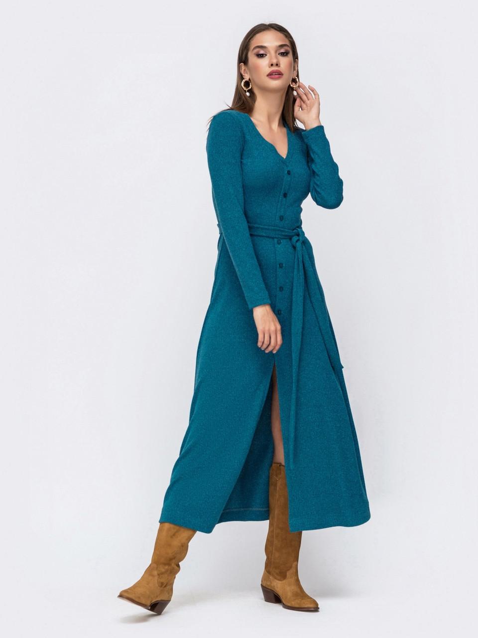 Практичное платье приталенного силуэта из приятного к телу трикотажа с нитью люрекса джинс розмір 44 46 48