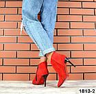 Женские ботильоны красного цвета, натуральная замша, фото 2