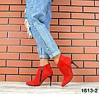 Женские ботильоны красного цвета, натуральная замша, фото 5