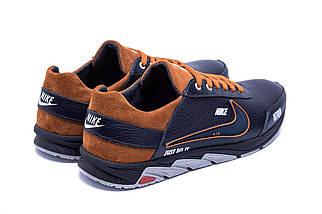 Мужские кожаные кроссовки в стиле Nike N700 черные, фото 3