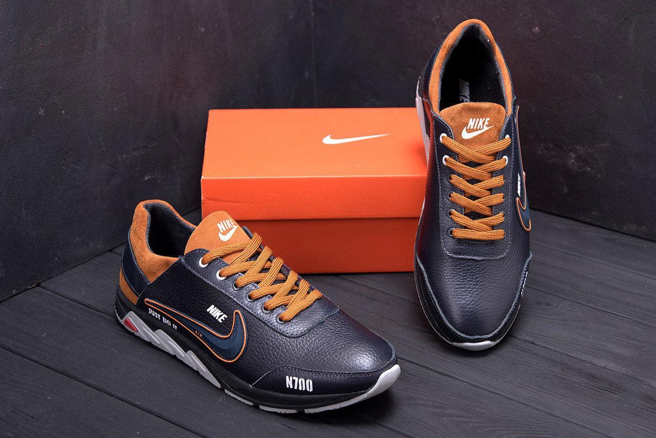 Мужские кожаные кроссовки в стиле Nike N700 черные