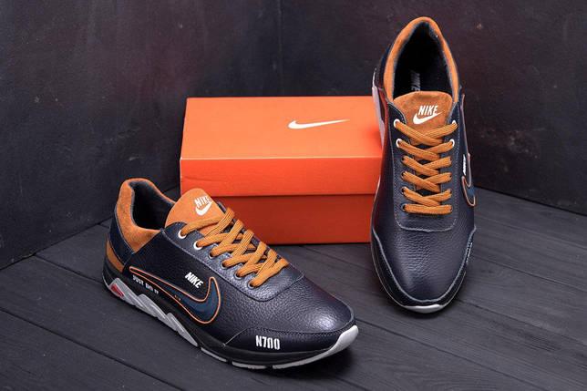 Мужские кожаные кроссовки в стиле Nike N700 черные, фото 2