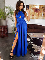 Синее шелковое платье с халтером