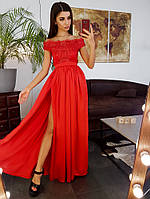 Красное платье макси с открытыми плечами и кружевным верхом