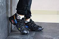 Мужские кроссовки в стиле Salomon Speedcross 3, кожа, сетка, пена, черные с серым 41 (26 см)