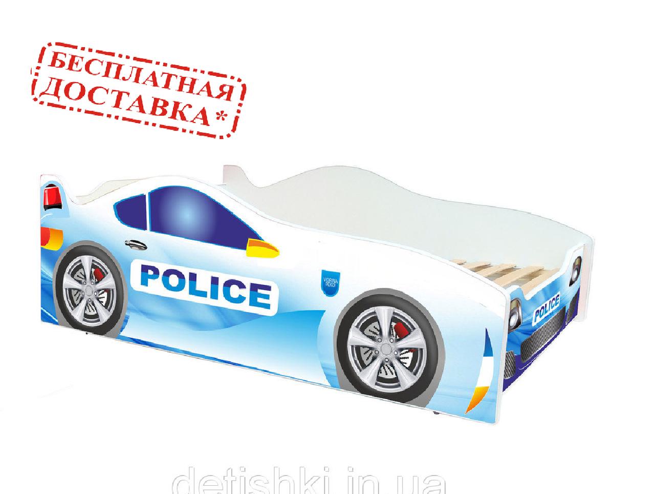 """Полиция белая.  """"Evolution"""". Viorina-Deco. Детская кровать. Для мальчиков."""