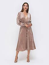 Элегантное платье из фактурного велюра с V-образным вырезом горловины розмір 44 46 48, фото 2