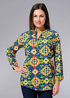 Рубашка молодежная со стильным принтом, вискоза, Индия, 40-44 размер