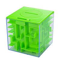 Развивающая игрушка SUNROZ Maze Money Box копилка куб-лабиринт 3D игры 2 в 1 Зеленый (SUN5678)