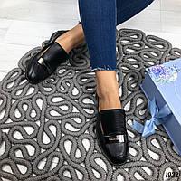 Черные женские туфли, из натуральной кожи