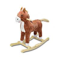 """🔝 Музыкальная лошадка качалка детская """"Поющий ковбойский конь"""", Плюшевый, Коричневый, коник качалка   🎁%🚚"""