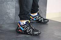 Мужские кроссовки в стиле Salomon Speedcross 3, кожа, сетка, пена, черные с белым и синим 41 (26 см)
