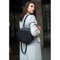 Кожаная женская круглая сумка-рюкзак Maxi черная