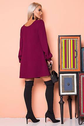 Бордовое платье со сборками на плечах, фото 2
