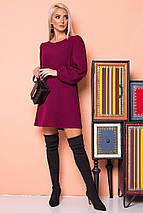 Бордовое платье со сборками на плечах, фото 3