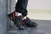 Мужские кроссовки в стиле Salomon Speedcross 3, кожа, сетка, пена, черные с красным 41 (26 см)