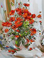 """Картина раскраска по номерам """"Букет маков"""" Белоснежка 30х40 см"""